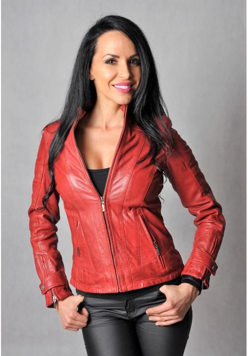 Dámska kožená bunda Chamicuro red