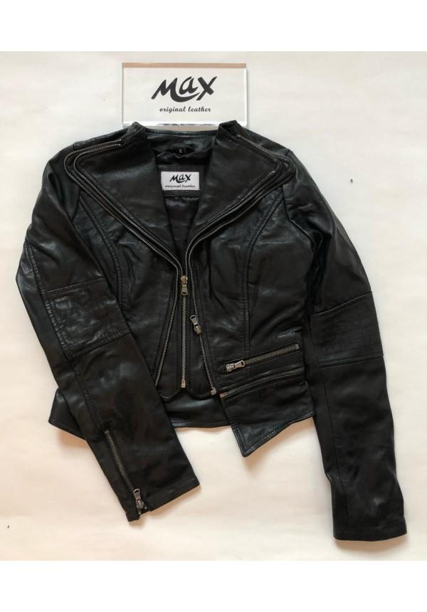 Dámska kožená bunda Tereza black a9966c59b18