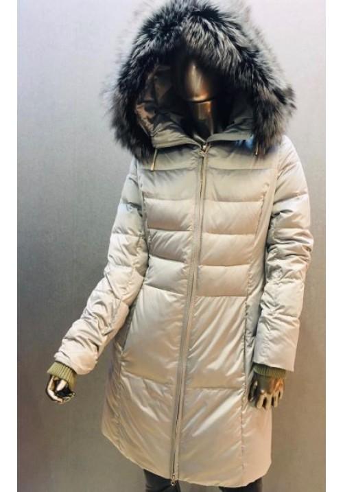Páperová bunda s kožušinou G-253 l.grey