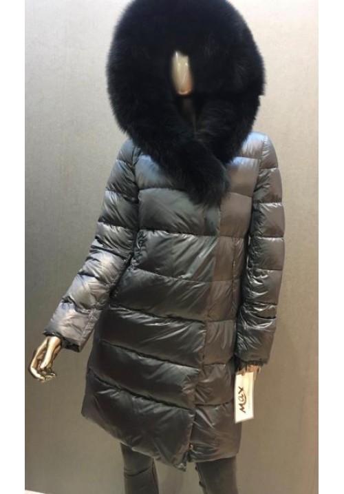 Dámska páperová bunda s pravou kožušinou G-708 ultra grey