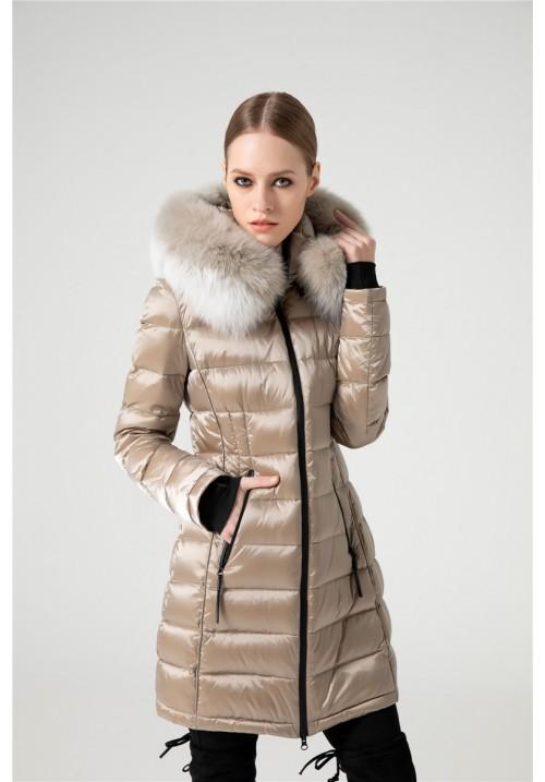 Dámsky páperový kabát s kožušinouG-267
