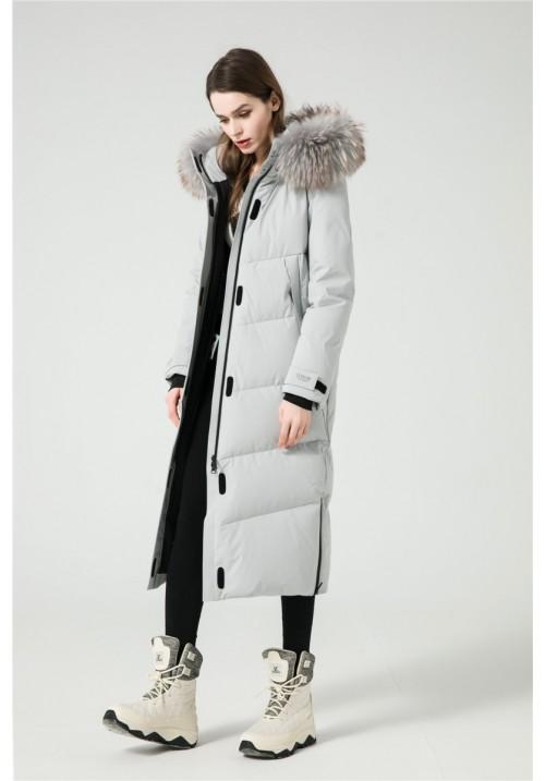 Dámsky páperový kabát s kožušinou G-291