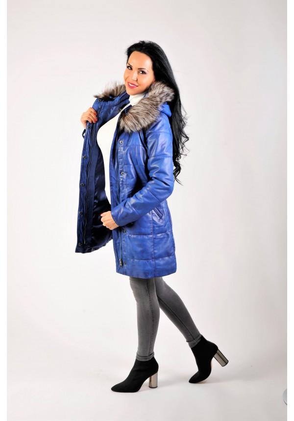 Dámsky kožený kabát s pravou kožušinou model cobalt 4dfa4ad9209