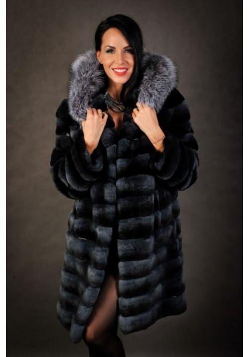 Dámsky kabát zajac REX s pravou líškou