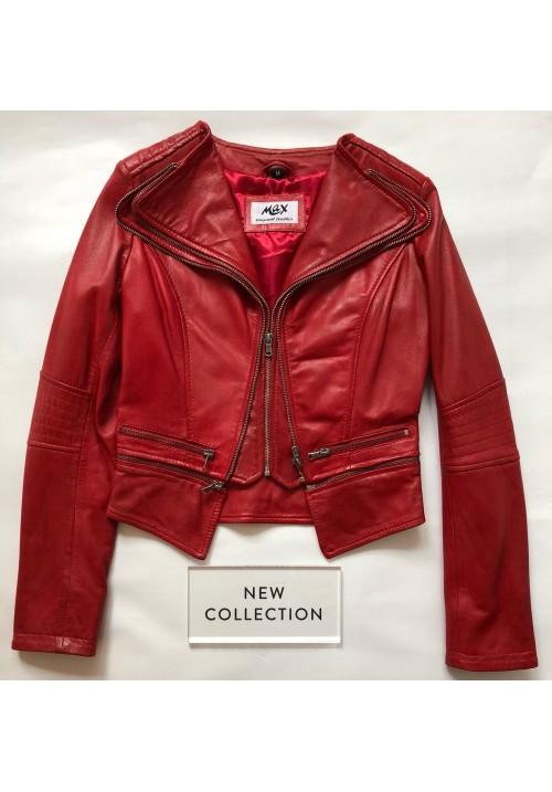 Dámska kožená bunda Tereza red