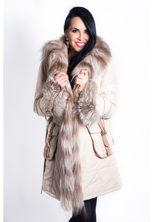 Dámsky textilný kabát s kožušinou Katrine 44f776ea8c8